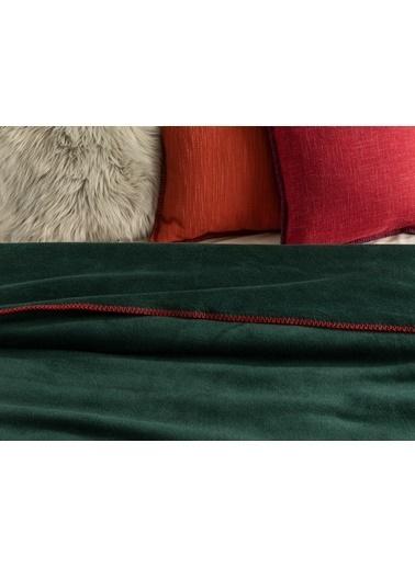 Madame Coco Étoile Çift Kişilik Düz Pamuklu Battaniye - Koyu Yeşil Yeşil
